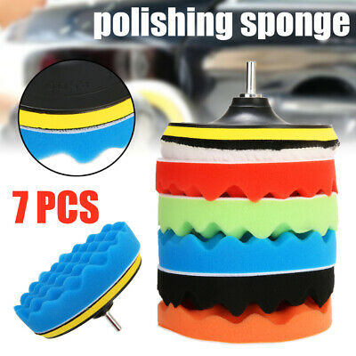 "7pcs 3/5/6/7"" Polishing Waxing Buffing Pad Sponge Kit Set Fit For Car Polisher"