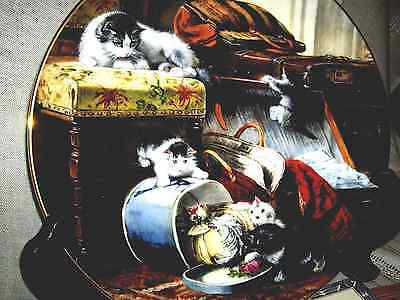 Victorian Cat Collection Plate Mischief With The Hat Box