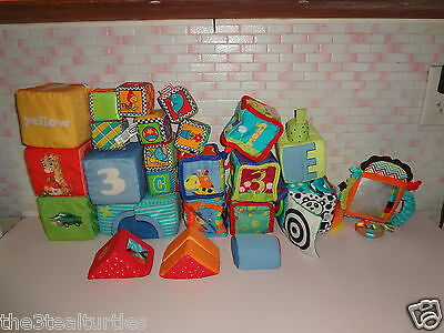 Large Assorted Lot of Baby Soft Plush Blocks Sensory Cubes Build Discovery Toys