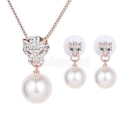 Leopard Head Crystal Rhinestone Pearl Pendant Necklace Earrings Jewelry Set