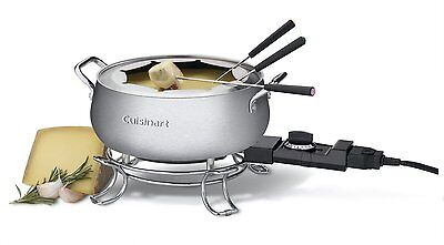 Cuisinart Chocolate Cheese Broth Oil Nonstick Electric Fondue Maker Forks Set