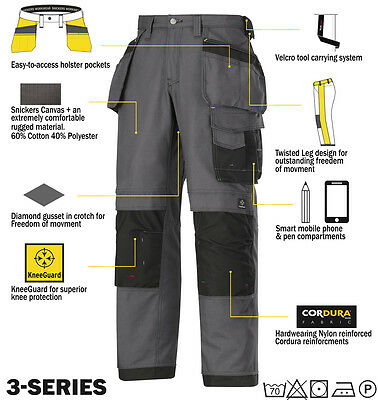 Snickers 3214 Trousers Canvas Holster Work Trousers Snickers Direct Grey-Black