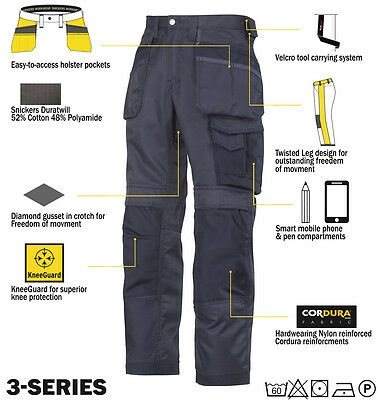 Snickers Trousers 3212 3-Series Work Trousers Snickers Direct Navy