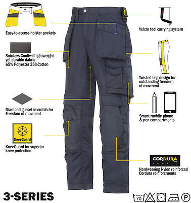 Snickers 3211 Cooltwill Trousers SnickersDirect Navy