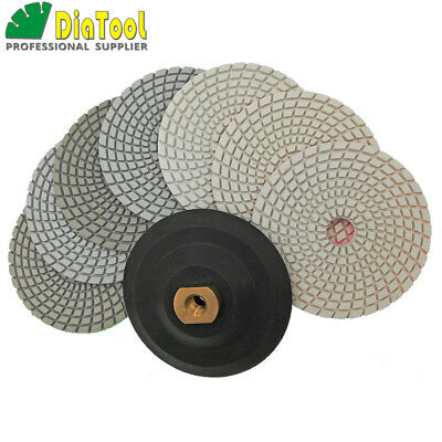 "7pcs/set 5"" Wet Diamond Polishing Pads with M14 Rubber Backer 125mm Sanding Disk"