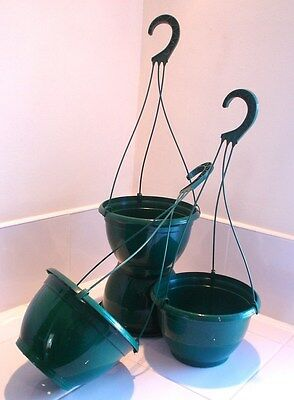 "Set Of Ten 8"" Plastic Hanging Baskets Complete With Hanger"