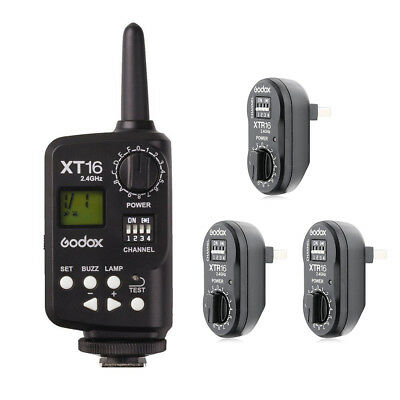 Godox XT-16 XT16 2.4G Wireless Remote Control Strobe Flash Trigger + 3X Receiver