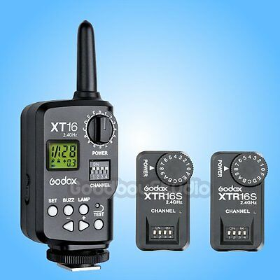 Godox XT-16S 2.4G Wireless Remote Control Strobe Flash Trigger + 2X Receiver