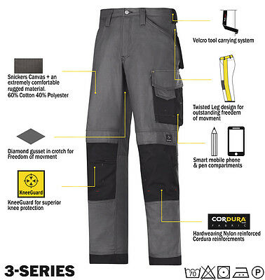 Snickers 3314 Trousers Canvas Work Trousers Snickers Direct Steel Grey - Black