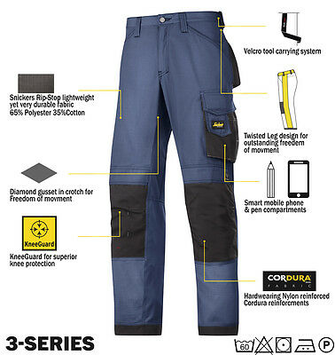 Snickers 3313 Ripstop Work Trousers Snickers Direct Navy - Black