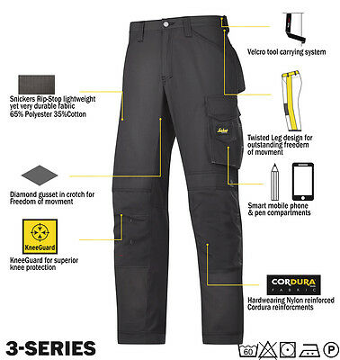 Snickers 3313 Ripstop Work Trousers Snickers Direct Black