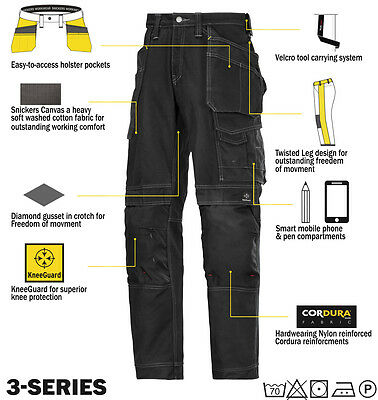 Snickers 3215 Comfort Cotton Work Trousers Snickers Direct Black
