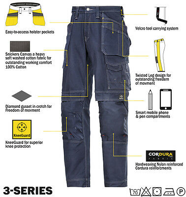 Snickers 3215 Comfort Cotton Work Trousers Snickers Direct Navy