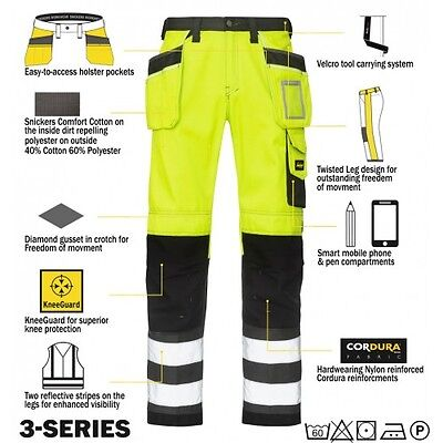 Snickers 3233 High Visibility Work Trousers Snickers Direct Yellow