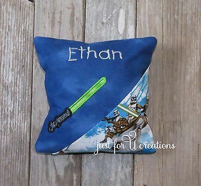 Personalized Boy Embroidered Star Wars Light Saber Design Tooth Fairy Pillow