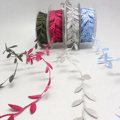 10 Yards Bridal Vintage Satin Leaf Leaves Vine Garlands Ribbon Sew On Lace Trim