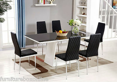 MURANO Black/White High Gloss Glass Dining Table Set and 6 Leather Chairs Seater