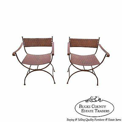 Pair of X Formed Directoire Regency Style Woven Metal Patio Arm Chairs