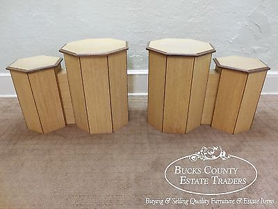 Unusual Pair of Custom Exotic Wood Octagon Hexagon Double Pedestals