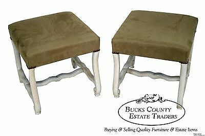 Vintage Pair of Italian Style Painted Ottomans Benches