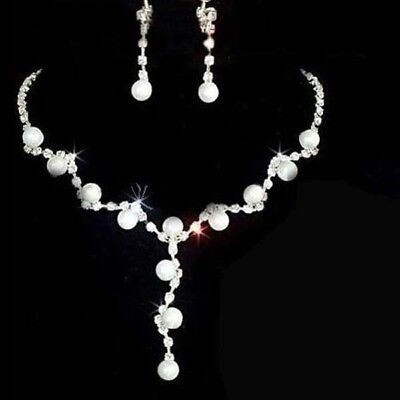 Bridal Wedding Prom Silver Crystal Rhinestone Pearl Necklace Earrings Set