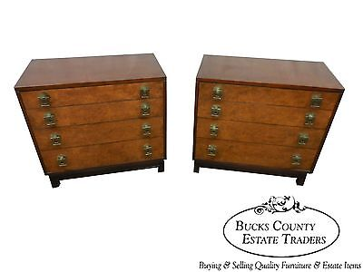 Johnson Furniture Co. Pair of Mid Century Burl Wood Mahogany Chests Paul Frankl