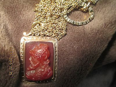 Carved carnelian warrior bust pendant in 14k gold setting on 14k gold chain