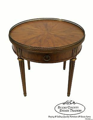Henredon French Louis XVI Style Round Walnut Regency Bouillotte Table