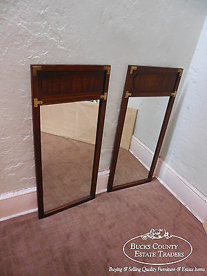 Lane Walnut & Oak Pair of Campaign Style Wall Mirrors