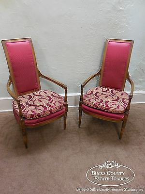 Pair of French Louis XVI Directoire Style High Back Host Open Arm Chairs (B)