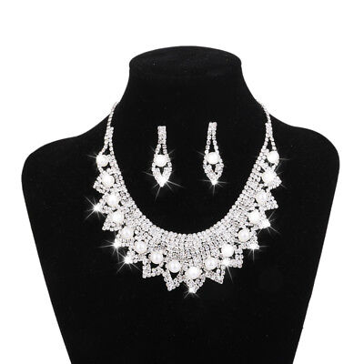 Wedding Necklace and Earring Sets Crystal Collar Chunky Bib Jewelry Sets