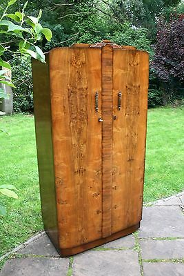 Compact Vintage Walnut Wood Double Door Wardrobe With Clothes Rail, Shelf & Key
