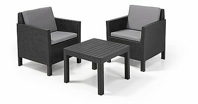 Allibert Chicago 2/4 Seat Balcony Lounge Set Graphite with Grey cushions Ice Box