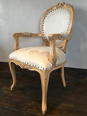 Hard Wood Shabby Chic Stone Oak Finish French Carver Throne Armchair Chair