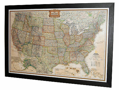 "Framed USA Map - National Geographic Executive - 39"" x 27"""