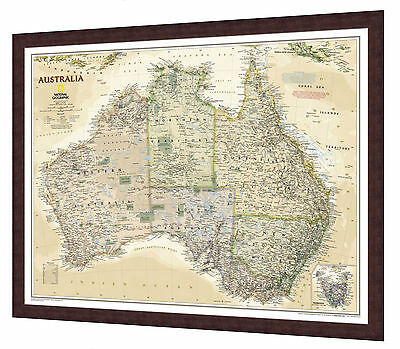 "Framed Australia Map - National Geographic Executive - 32"" x 26"""