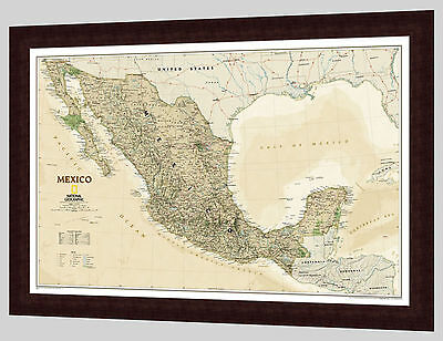 "Framed Mexico Map - National Geographic Executive - 36"" x 25"""