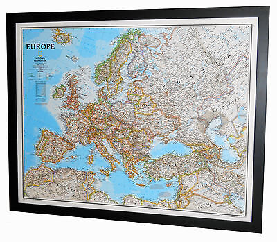 "Framed Europe Map - National Geographic Classic - 32"" x 26"""