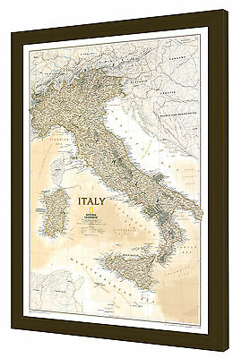 "Framed Italy Map - National Geographic Executive - 25"" x 36"""