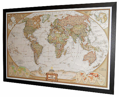 "***MAGNETIC*** Framed World Map - National Geographic Executive - 40"" x 28"""