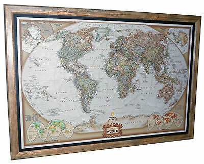 "Framed World Map - National Geographic Executive 40"" x 28"" Brown Barnwood Frame"