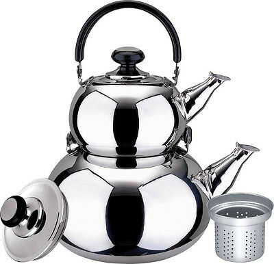 Turkish Double Tea Kettle Pot - Samovar Style Water Boiler Kettle with Strainer