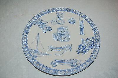 "Plate. Gift for Baby Boy plate 7.75"" Queen's China blue white NEW"