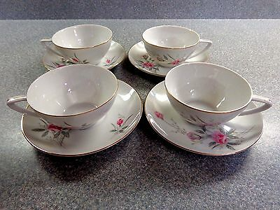 4 Sets Collectible Tea Cup and Saucer, Golden Rose Fine China Japan, marked MS