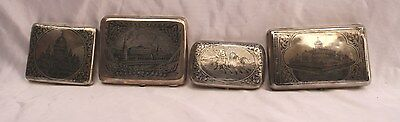 Magnificent Four Pieces 1900 Russian 84 Hand Engraved Silver Box's