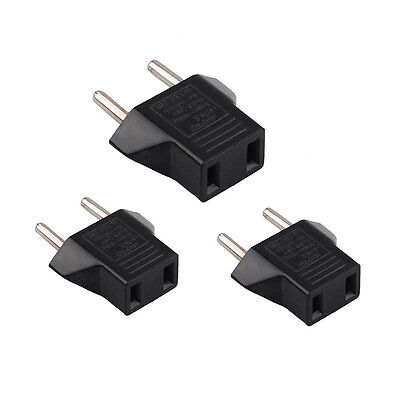 3X USA US To EU Europe Travel Charger Power Adapter Converter Wall Plug Home SPC
