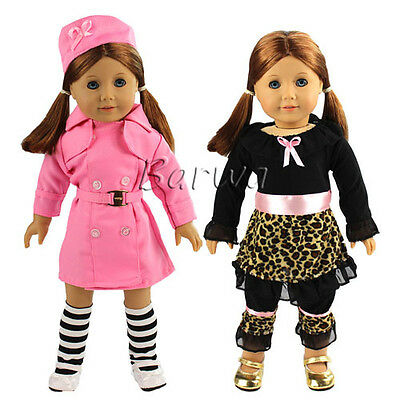 Handmade Lovely Clothes Sets=Coat T-Shirt+Pants for 18 Inch American Girl Doll