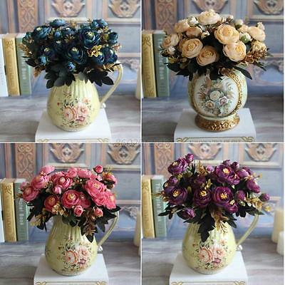 Artificial Fake Silk Peony Flowers Leaf Home Floral Bouquet  Wedding Party Decor