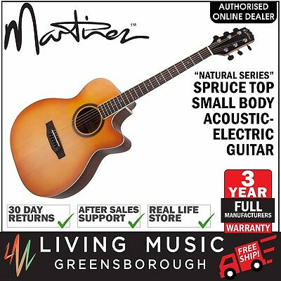 Martinez Natural Series Small Body Acoustic-Electric Cutaway Guitar Dry Burst