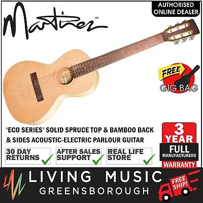 Martinez Eco Series Solid Spruce Top Bamboo Acoustic-Electric Parlour Guitar